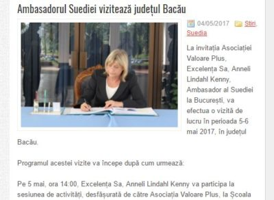 Ambasadorul Suediei vizitează județul Bacău